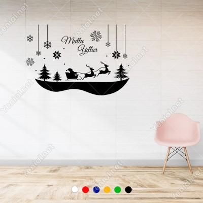 Çamlar İçinde Geyikleri İle Gezinen Noel Baba 115x75cm