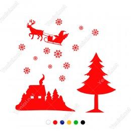 Gökyüzünde Gezinen Noel Baba ve Kar Taneleri Yılbaşı Süslemeleri