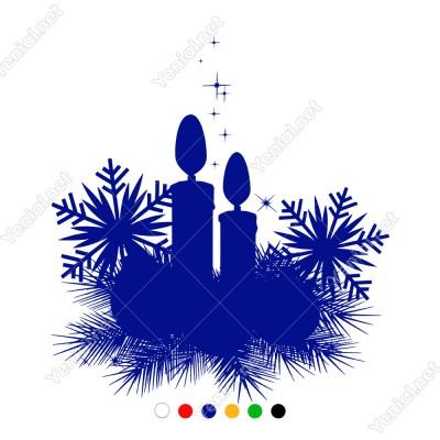 Kar Tanesi Mum ve Yıldızlar Yılbaşı Süslemesi 61x66cm