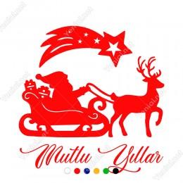 Kayan Yıldız Geyikli Noel Baba ve Mutlu Yıllar Yazısı Yılbaşı Süslemeleri