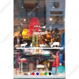 Otlanan Geyikler ve Kar Taneleri Yılbaşı Vitrini 115x76cm