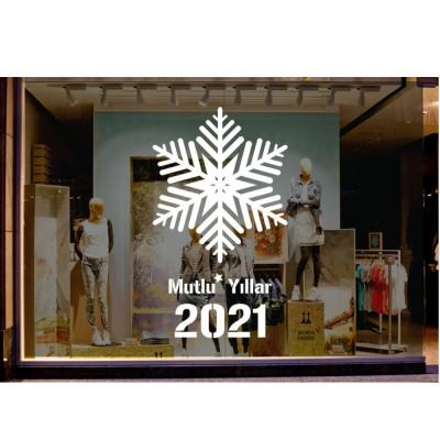 Yılbaşı Süslemeleri Kar Tanesi ve Mutlu Yıllar 2021 90x53cm