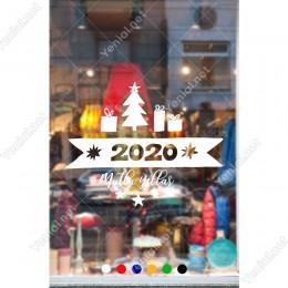 Yılbaşı Süslemeleri Mutlu Yıllar Kar Taneleri Vitrin Çıkartması 110X140 cm