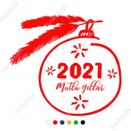 Yılbaşı Süslemeleri Çam Dalı Mutlu Yıllar Vitrin Çıkartması 140X130 cm