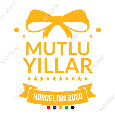 Yılbaşı Süsü Mutlu Yıllar Hoşgeldin 2020 Yazılı Kurdeleli Sticker