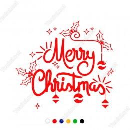 Süslemeli Merry Christmas Yazısı Yılbaşı Süslemesi 60x67cm