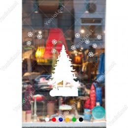 Yeni Yıl Ağacı Çamı Kar Taneleri Yılbaşı Süslemesi 61x66cm
