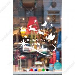 Yılbaşı Süslemeleri Geyikleri ile Gezinen Noel Baba 102x94cm