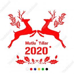 Yılbaşı Süslemeleri Mutlu Yıllar 2020 Yapraklar 101x94cm