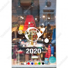 Yılbaşı Süslemeleri Yıldız ve El Sallayan Noel Baba Sticker 101x84cm