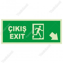 Exit Çıkış Sağ Aşağı Ok Lümen Folyo Levhası