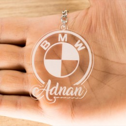 Bmw Logolu İsme Özel - Kişiye Özel Pleksi Anahtarlık - Arkadaşa, Sevgiliye Eşe Hediye