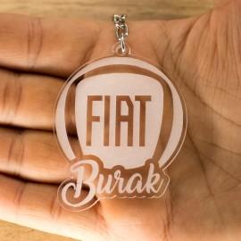 Fiat Logolu İsme Özel - Kişiye Özel Pleksi Anahtarlık - Arkadaşa, Sevgiliye Eşe Hediye