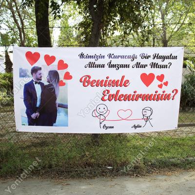 Fotoğraflı Evlilik Teklifi Afişi Pankartı