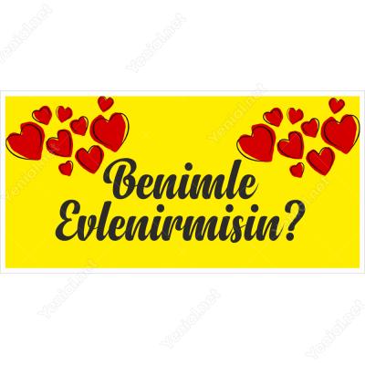 Sarı Zeminli İki Tarafı Kalpli Benimle Evlenir Misin Branda Afişi
