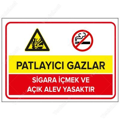 Patlayıcı Gazlar Sigara İçilmez Açık Alev Yasaktır Levhası