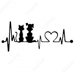 Kalp Atışı Kediler Siticker