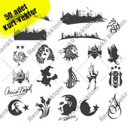 50 adet Vektörel Sticker Ay Yıldız,İstanbul,Tuğra satın al