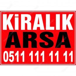Kiralık Arsa Branda Branda Afişi (Kırmızı Renk)