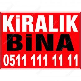 Kiralık Bina Branda Branda Afişi (Kırmızı Renk)