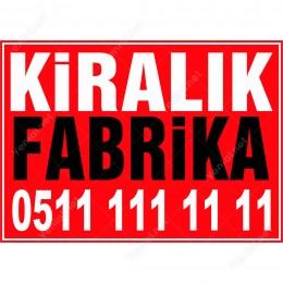 Kiralık Fabrika Daire Branda Branda Afişi (Kırmızı Renk)