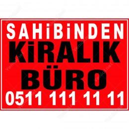 Kiralık Kiralık Büro Branda Branda Afişi (Kırmızı Renk)