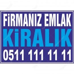 Firmamız Emlaktan Kiralık Branda Branda Afişi (Mavi Renk)