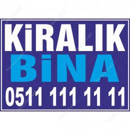 Kiralık Bina Branda Branda Afişi (Mavi Renk)
