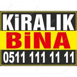 Kiralık Bina Branda Afişi (Sarı Siyah Renk)