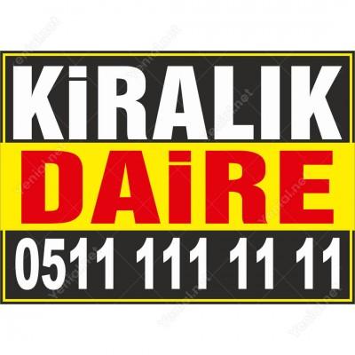 Kiralık Daire Branda Afişi (Sarı Siyah Renk)