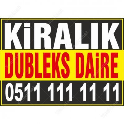 Kiralık Dubleks Daire Branda Afişi (Sarı Siyah Renk)