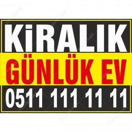 Kiralık Günlük Ev Branda Afişi (Sarı Siyah Renk)