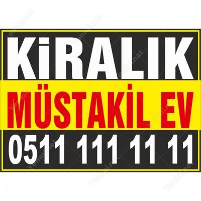 Kiralık Müstakil Ev Branda Afişi (Sarı Siyah Renk)