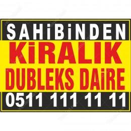 Sahibinden Kiralık Dubleks Daire Branda Afişi (Sarı Siyah Renk)