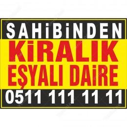 Sahibinden Kiralık Eşyalı Daire Branda Afişi (Sarı Siyah Renk)