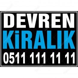 Devren Kiralık Branda Afişi (Siyah Mavi Renk)