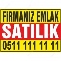 Firmanız Emlaktan Satılık Branda Afişi (Sarı Mavi Renk)