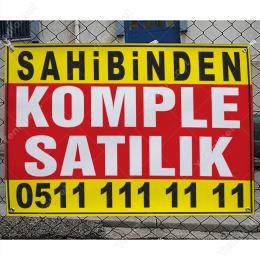 Sahibinden Komple Satılık Branda Afişi (Sarı Mavi Renk)
