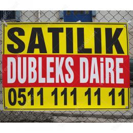 Satılık Dubleks Daire Branda Afişi (Sarı Kırmızı Renk)