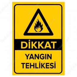 Dikkat Yangın Tehlikesi Levhası