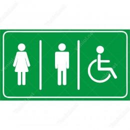 Bay Bayan Ve Engelli Wc Yeşil Şekilli Yönlendirme Levhası