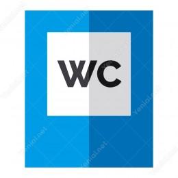 Wc Beyaz Üzeri Mavi Yönlendirme Levhası