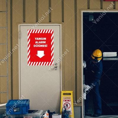 Yangın Alarm Düğmesi Aşağı Ok Levhası