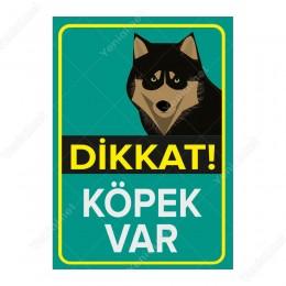 Dikkat Köpek Var Mavi Renk Levhası Husky